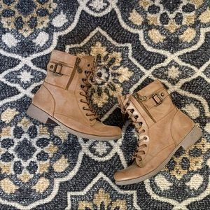 G By Guess | Camel Combat Boots